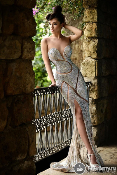 사용자 정의 만든 새로운 파란색 이브닝 드레스 럭셔리 보석 모조 다이아몬드 쉬어 보석 코르셋 인어 바닥 길이 레드 카펫 연예인 가운
