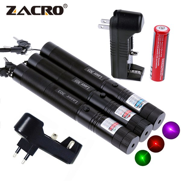 Zacro Green Laser Red Laser Blue Pointer Sight Powerful Device Adjustable Focus Lazer Laser 303, US Or EU Charger, 18650 Battery