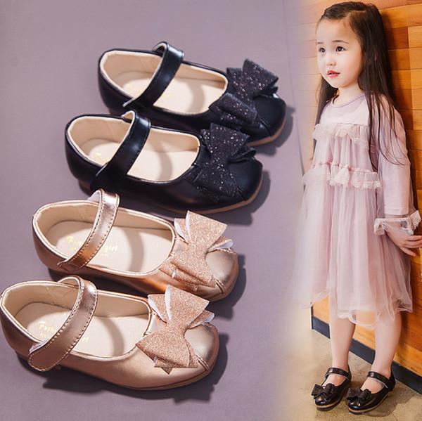 Kızlar ayakkabı 2019 Sonbahar yeni çocuklar sequins Yaylar prenses tek ayakkabı çocuk yuvarlak ayak kaymaz düz ayakkabı kızlar dans ayakkabı F8394