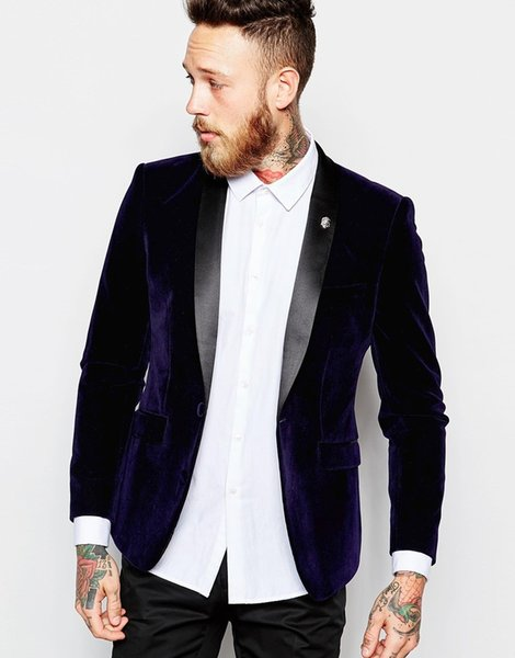 Slim Fit Purple Velvet Groom Tuxedos Black Lapel Groomsmen Wedding Dress Autumn Winter Style Men Formal Party Prom Suit(Jacket+Pants+Tie)911