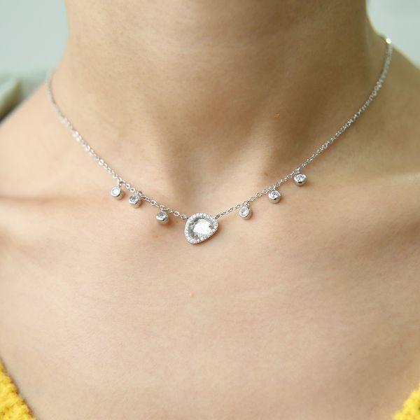2018 NEW BLUE WHITE stone necklace summer elegant choker chain bezel cz drop elegant stunning fashion european women jewelry