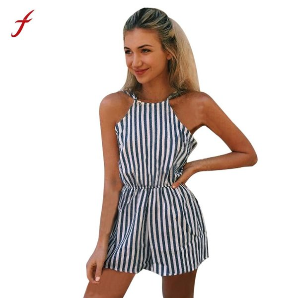 Bodysuit Jumpsuit romper Womens Ladies Mini Playsuit Ladies Summer Shorts Beach Sexy Vertical Stripe Backless Cutaway Rompers
