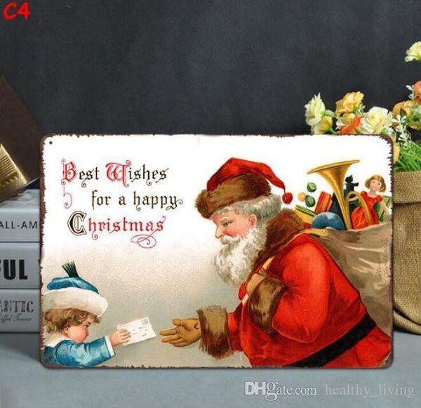 Natale d'epoca in metallo Targhe in metallo per la pittura decorazione della parete del Babbo Natale di arte della parete del metallo del ferro Segni Tin Bar Bar Garage decorazione domestica 533