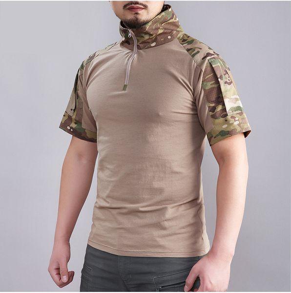 Verão Camuflagem Militar T Shirt Homens Respirável Combate Do Exército Tático T-shirt de Algodão de Manga Curta Uniforme Roupas