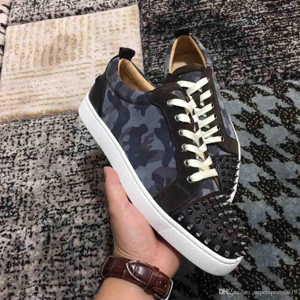 2019 France Paris Man Low Flat Junior Red Bottom Spikes Sneaker With Grey Camo Leather Sneakers Shoes Spiked Wedding Casual Trainers