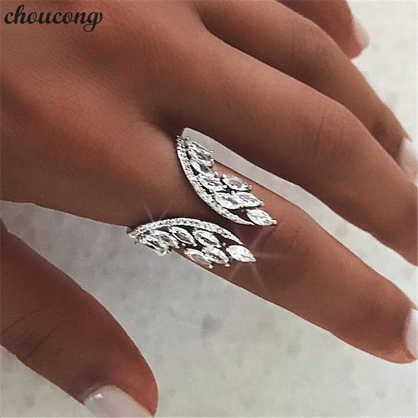 choucong Female Angel wings Ring 925 sterling Silver Diamond Engagement Wedding Band Rings For Women Finger Jewelry Gift