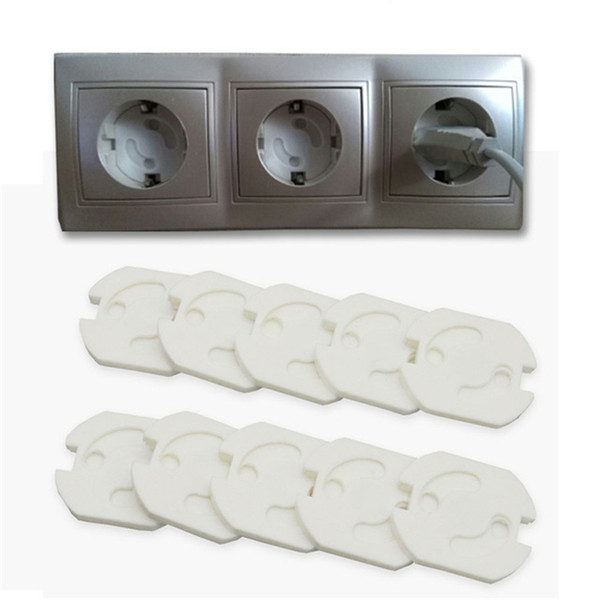 best selling 10 Pcs  Set Baby Safety Rotate Cover 2 Hole Round European Standard Kids Against Electric Protection Socket Plastic Security Locks Wholesale