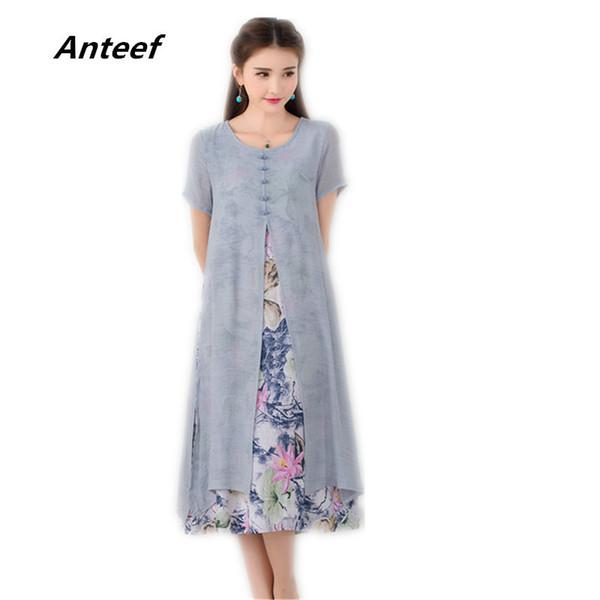 Coton Lin Plus La Taille Vintage Floral Femmes Casual Lâche Long Eté Beach Party Sun Dress Élégant Vêtements 2019 Robes Robe Longue Y190507