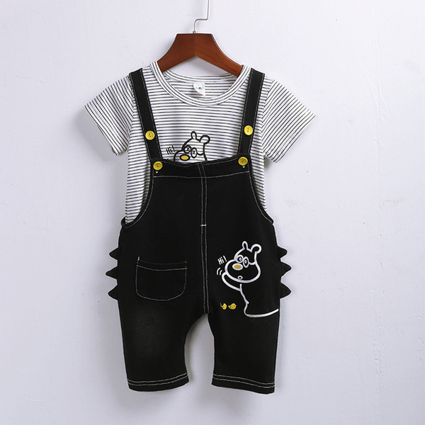 Newborn Baby Boy Clothes 0 To 3 Years Old Boy's Overalls Boy Two-piece Suit cute Wind Of Summer Tide