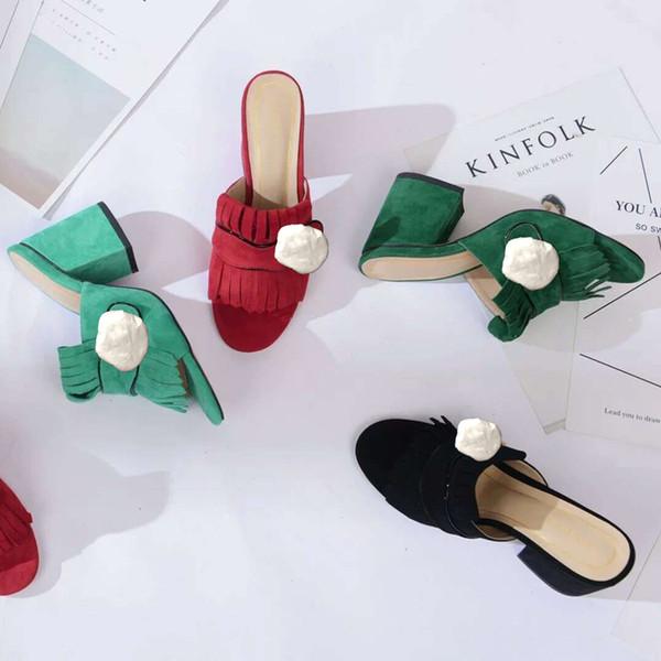 Klasik kadın Sandalet Lady Yaz Tasarımcı Sandalet Metal toka Deri seksi yüksek topuklu ayakkabılar Kaba topuk Yarım terlik büyük boy 34-42
