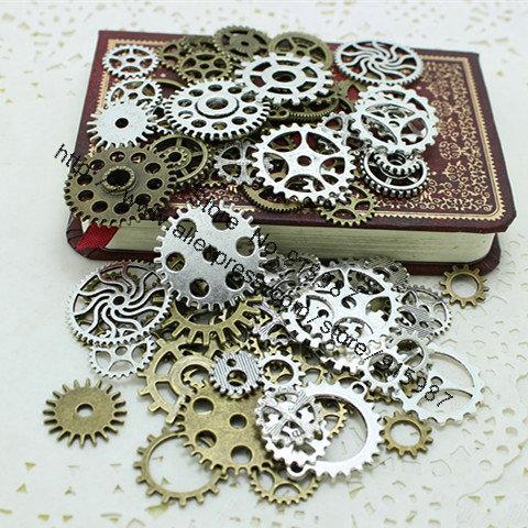 Campana dulce Mix 100 pcs dos encantos del color del engranaje colgante de bronce antiguo Fit collar de las pulseras DIY Metal fabricación de joyas D0352