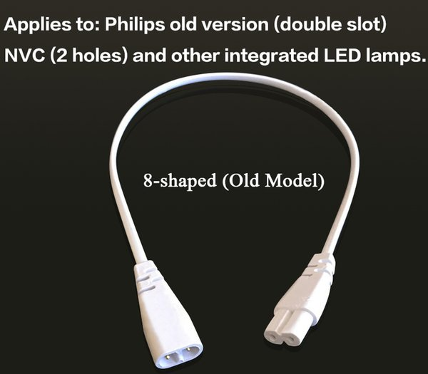 30cm 3 Pin T4//T5//T8 Figure-8 LED Connector for LED Tube Lamp Lighting