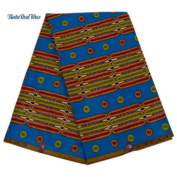 2019 Yeni ankara Afrika Balmumu baskılı% 100% Pamuklu kumaş hollandalı binta gerçek Balmumu 6 Yards bir parça gerçek Hollandais 24fs1251
