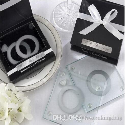 """#GH80 Unique Wedding Favors Gift """"With This Ring"""" Unique Stackable Glass Coaster Favors - Set of 2+100sets/lot 160318#"""