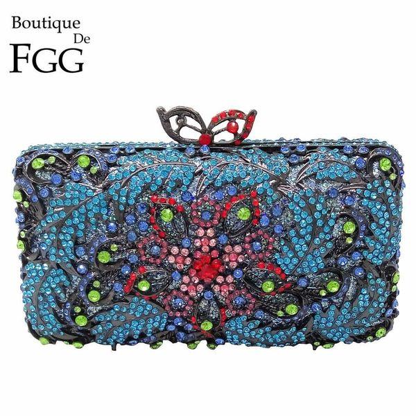 Gunmetal Plated Turquoise Blue Women Crystal Evening Wedding Party Clutch Bag Metal Minaudiere Handbag Chain Shoulder Bag Purse