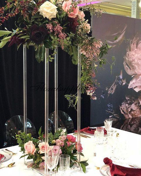 Acrilico Colonna Display Rack centro di cerimonia nuziale del fiore della radura basamento di fiore di cristallo acrilico Matrimonio Vaso stradali Colonna piombo Props Pillar