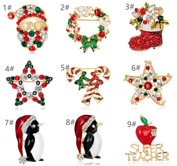 Christmas Theme Brooch Pins Alloy Crystal Christmas Tree Santa Brooches Rhinestone Costume Pin Breastpin Party Jewelry Xmas Gift