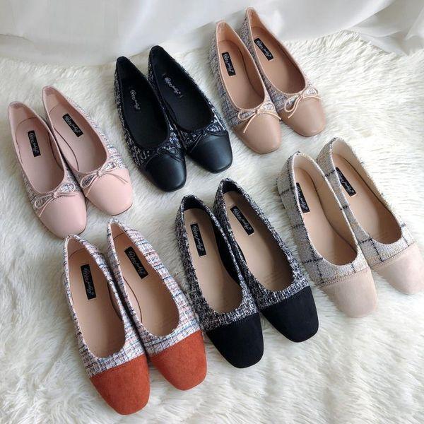 couleur mélangée Tweed bout carré ballerines femme slip sur les chaussures peu profondes confortables mocassins arc-noeud occasionnels dames mocassins fond mou