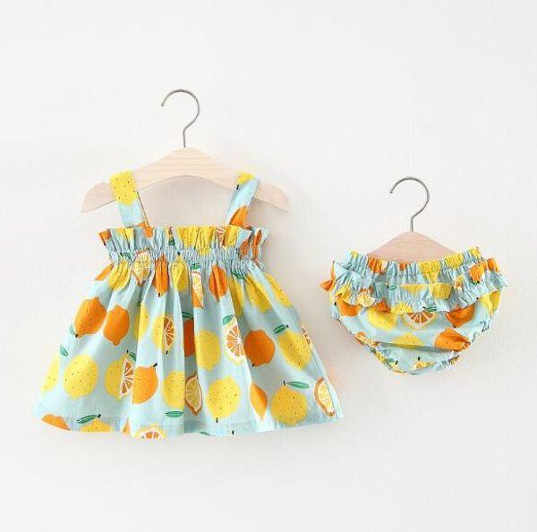 2pcs Baby Girl Condole belt Dress+PP Pants New Fashion Cotton children Clothing Set Summer Lemon printing Baby Clothes Set 0M-18M