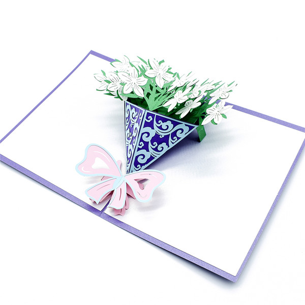 Un bouquet di fiori di gardenia 3D pop up carta regalo di compleanno con l'autoadesivo della busta cartolina taglio laser invito Greeting Card
