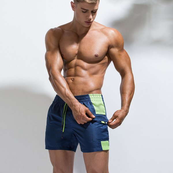 Men's Fast Drying Short Pants Beach Shorts Pool Side Striped Surfing Beach Volleyball Short Pants Mens Shorts and Boxers Pocket