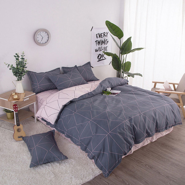 Geometric 4pcs Girl Boy Kid Bed Cover Set Duvet Cover Adult Child Bed Sheets And Pillowcases Comforter Bedding Set