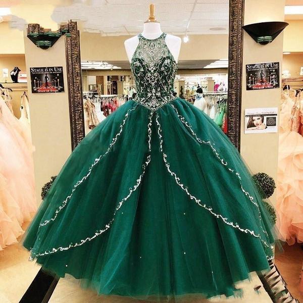 2019 Incredibile Verde Smeraldo Economici Abito di Sfera Abiti Quinceanera Prom Perline di Cristallo di Cristallo con Spalline Gonna A Piedi Tulle vestidos de Party Ragazze