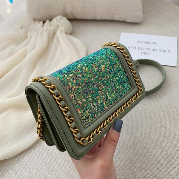 le donne di marca di vendita borsa estate nuova catena di paillettes borsa catena occidentale stile decorazione donne borsa a tracolla in pelle moda messenger bag