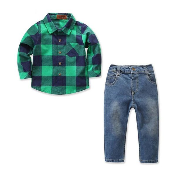 kids designer clothes boys Clothing Sets childrens boutique clothing Shirt+Jeans Kids Sets boys clothes Kids Clothes Child Suit A2364