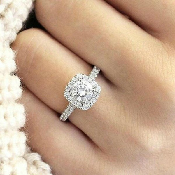 Halo Cushion Cut 18K White Gold White Sapphire Engagement Ring Jewelry Size 5-10