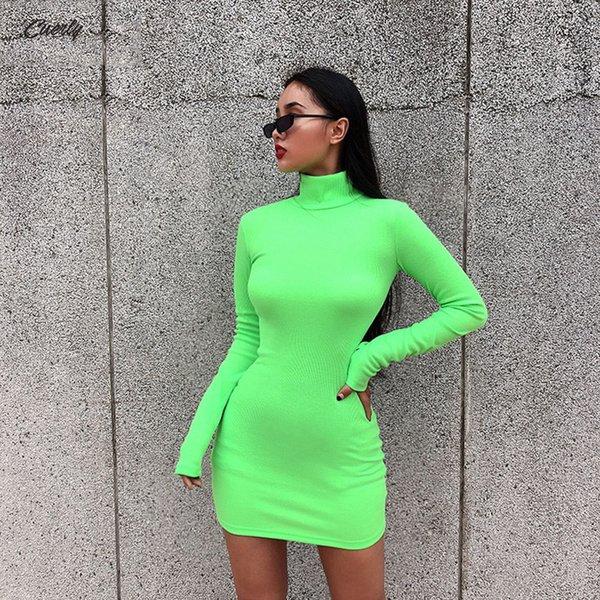 Sonbahar Kadınlar Elastik sıska Elbise Katı Floresan Renk Turtleneck Tam Kol Başparmak Delikler Bayanlar Günlük Elbiseler