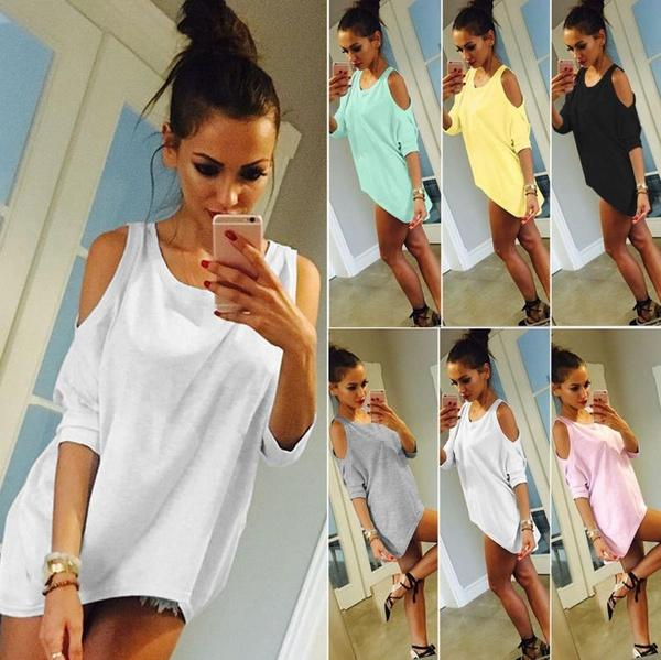 New Women T Shirt Off Shoulder Half Sleeve Casual Plus Size Tops