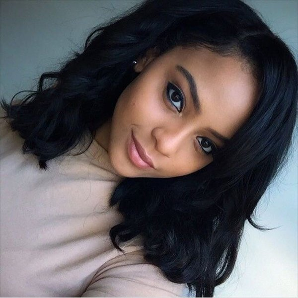 Unprocessed virgin remy human hair big curly nice looking new arrival natural color medium bob full front lace wig for women
