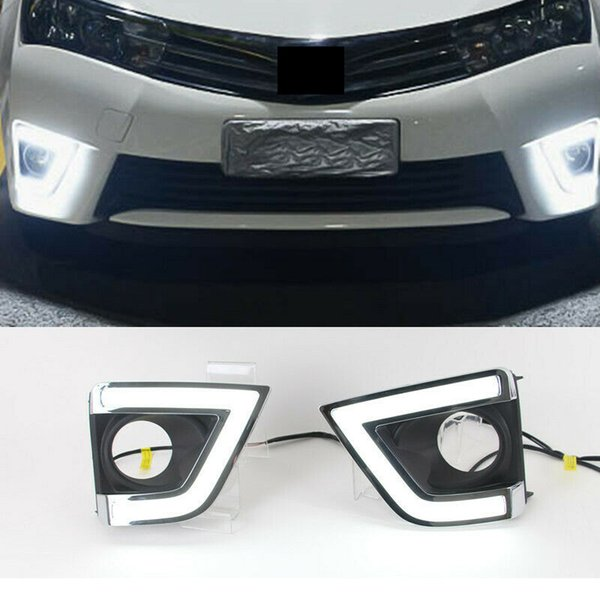 2x Car Auto White LED Daytime Day Fog Light DRL Lamp Cover For Toyota Corolla 2014-15