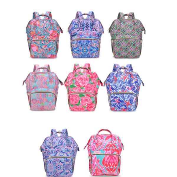 Hot Lily mamá mochila impresa mamá pañal bolsa moda bebé mochila pañal para mujeres embarazadas gran bolsa de almacenamiento bolsa de cuidado al aire libre T2D5028