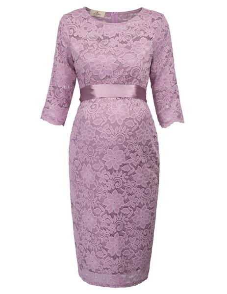 Gk Vogue Elegant Dress Maternity Pregnant Women Clothes Half Sleeve Crew Neck Hips Wrap Flower Lace Dress Solid Sash Dresses J190508