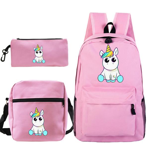 Genç kızlar Boy Kadınlar Seyahat Laptop Knapsack için Kawaii Unicorn Sırt Çantası 3pcs / set mochila Kalem Kutusu Okul Çantaları