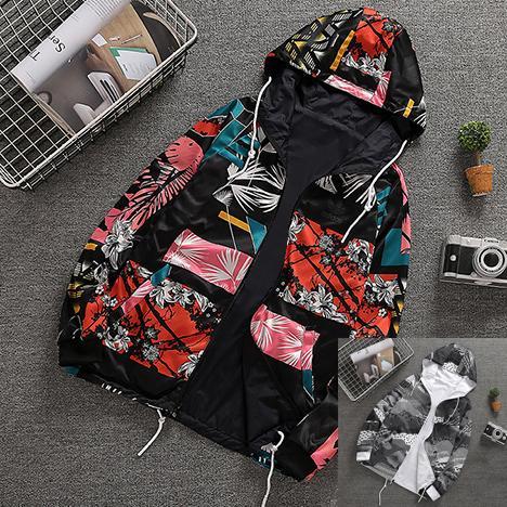 Brand Mens Jackets Double-sided Hooded Windbreaker Sweatshirt Designer Floral Print Coats Street Style High Quality Zipper Hoodies B100017L