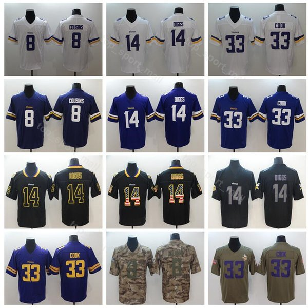 sale retailer 062db 6192e 2019 Football Vikings Minnesota 8 Kirk Cousins Jersey Men 14 Stefon Diggs  33 Dalvin Cook Vapor Untouchable Salute To Service Purple White Black From  ...