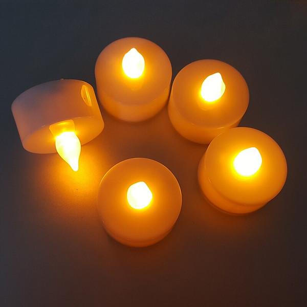 LED bougie lumière batterie alimenté couleur flamme bougie simulation scintillement LED bougie de thé lumière pour la décoration de fête d'anniversaire de mariage