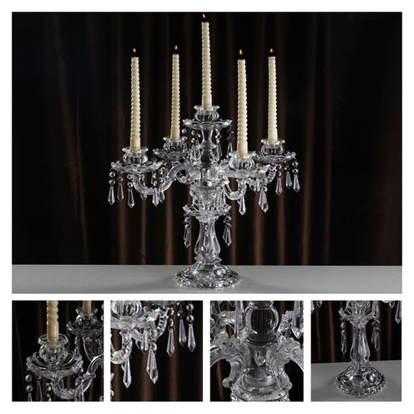 Menorah Candle Holders Crystal 5 arms Demountable Wedding Centerpieces Candlestick Glass Home Table Decor Ornamental Hand made