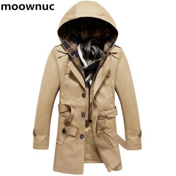 2018 New coats Men Hat Detatchable Hooded Men's Jacket casual Jackets Windbreaker Mens 100% cotton trench coat Plus Size M-4XL