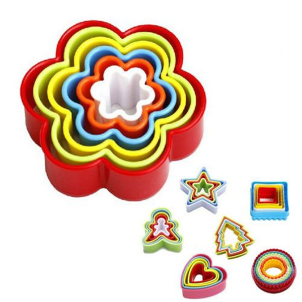 5Pcs/set Plastic DIY Star Tree Round Heart Flower Fondant Cake Cookie Cutter Mold Biscuit Pastry Mould Sugarcraft Tool