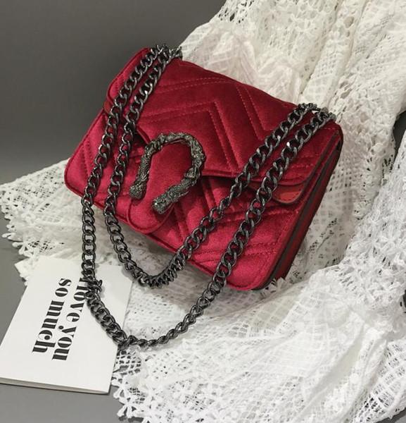 Factory direct brand women bag winter new snakehead lock velvet bag classic embroidered line wavy women chain bag elegant temperament small