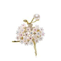Retro flower Classic fashion temperament Pearl Brooch girl accessories Brooch jacket pin girl Brooch white girlfriend