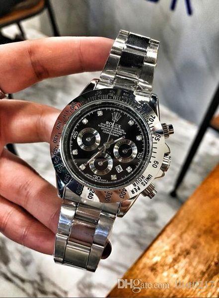 Rolex Топ Все циферблаты рабочие Секундомер Мужские часы Роскошные часы с страпон Top Brand Кварцевые наручные часы для мужчин высокого качества