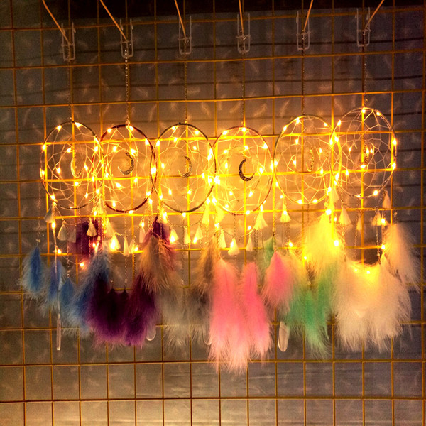 best selling 6 Colors LED Wind Chimes Round moon Handmade Dreamcatcher Feather Pendant Dream Catcher Creative Hanging Craft Wish Gift Home Decoration