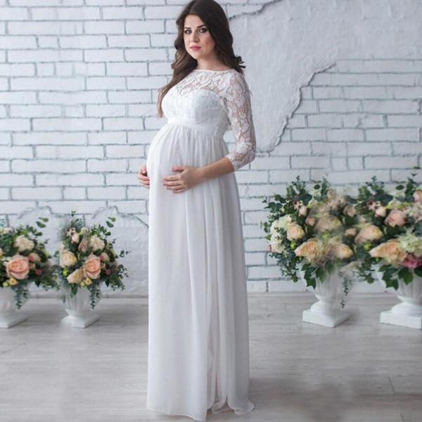 Elegante Lace Chiffon Evening Grávida Vestidos Modest Mangas Compridas Vestidos de Maternidade Mulheres Verão Gravidez Vestido Longo Plus Size