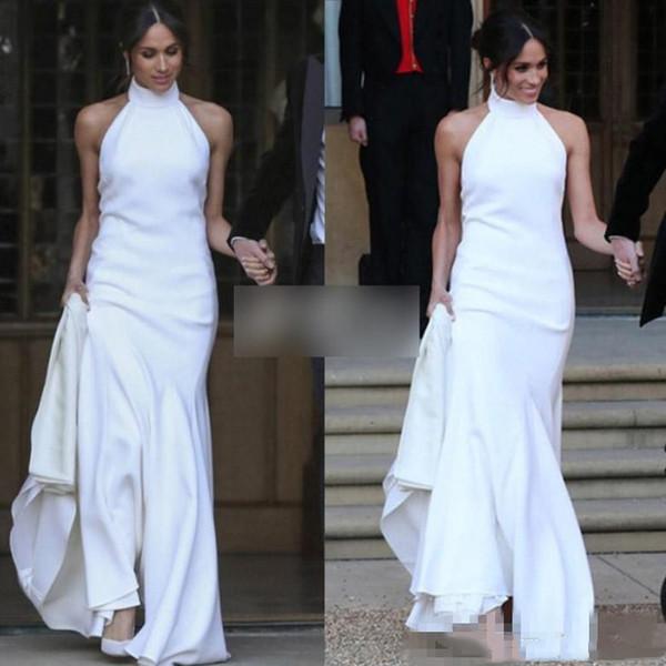Elegant Ivory Mermaid Wedding Dresses Simple Halter Neckline Soft Satin Prince Harry Meghan Markle Wedding Party bridal Gowns Plus Size