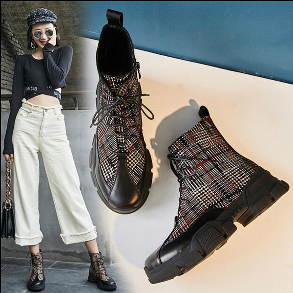 Fashion Luxury Women Genuine leather Cowskin & Embossed Sheepskin Leather Platform Hight top Boots Designer Martin Boots Lace-Up Plaid